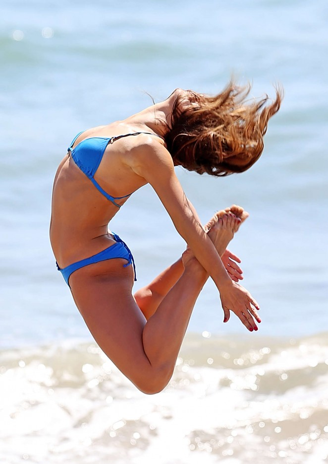 Karina Smirnoff in Blue Bikini in Malibu