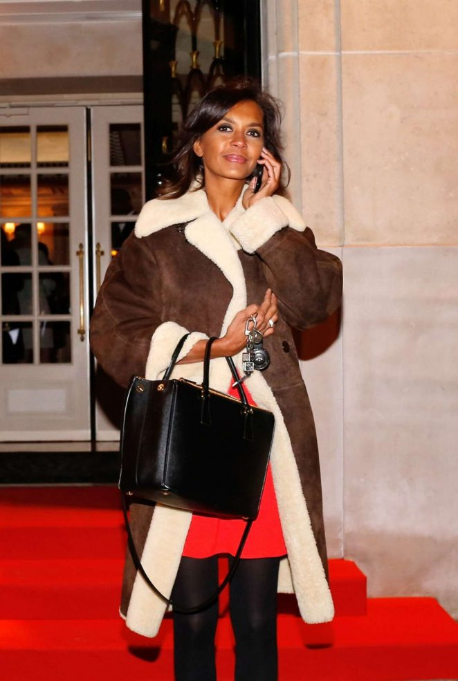 Karine Le Marchand - Leaving the Four Seasons Hotel in Paris