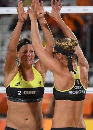 Karla Borger and Britta Buthe at Women's Beach Volleyball Match 2016 in Rio de Janeiro