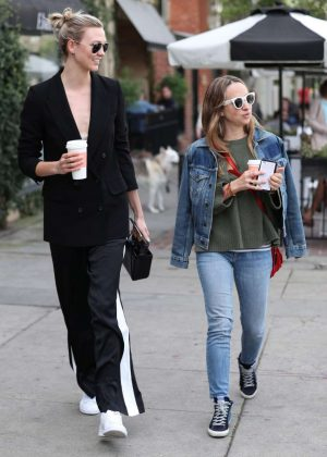 Karlie Kloss and Jennifer Meyer at Alfred Coffee in Los Angeles