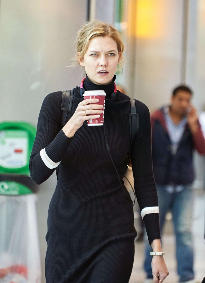 Karlie Kloss at London's Heathrow Airport