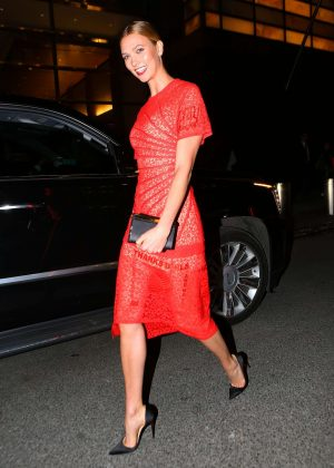 Karlie Kloss in a Red Dress out in New York City