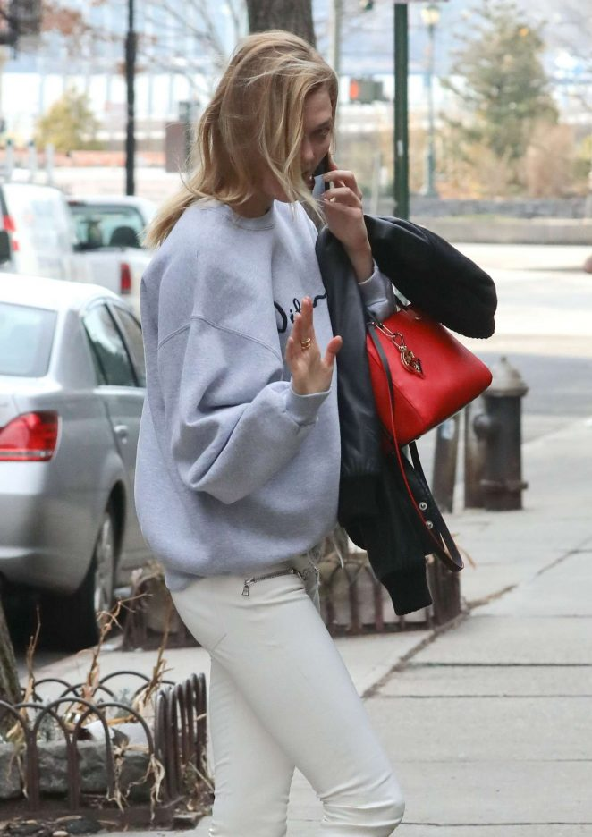 Karlie Kloss in Beige Pants Out in NY