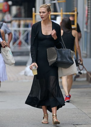 Karlie Kloss in Black Dress out in NY