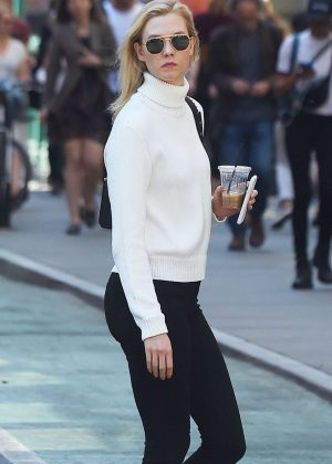 Karlie Kloss in Black Leggings out in NYC