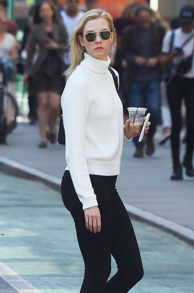 Karlie Kloss in Black Leggings out in NYC