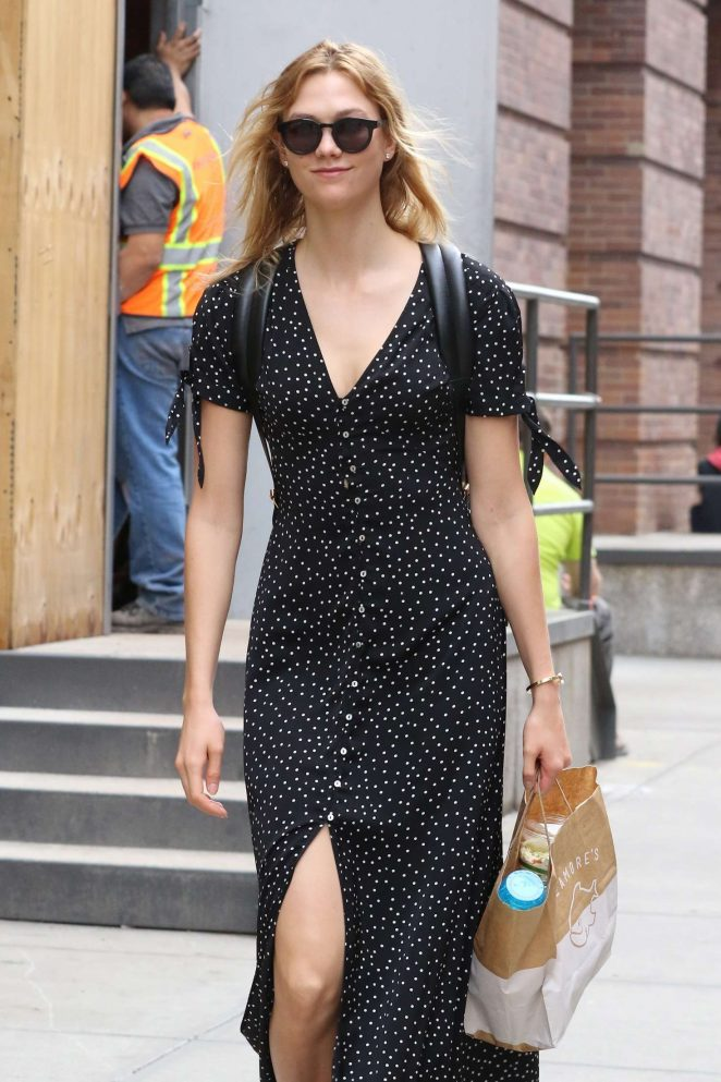 Karlie Kloss in Black Long Dress out in NYC