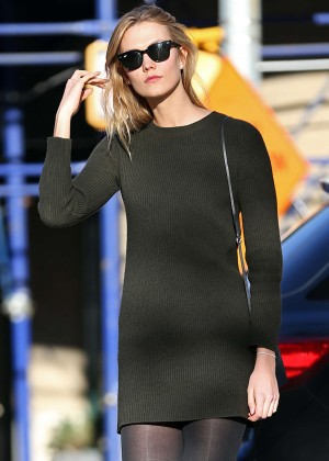 Karlie Kloss in Black Mini Dress out in New York