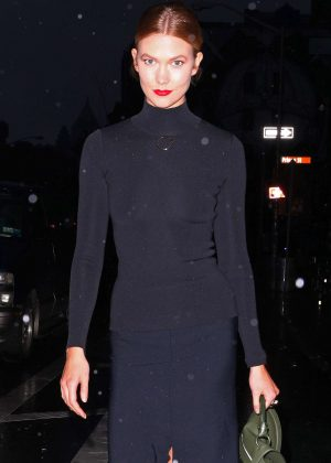 Karlie Kloss in black outfit out in New York City