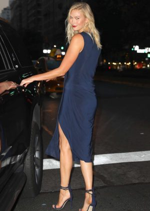 Karlie Kloss in Blue Dress - Out in New York