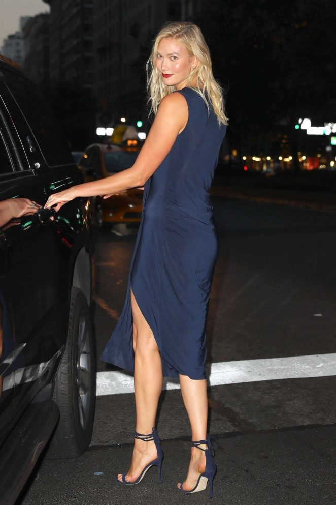 Karlie Kloss in Blue Dress – Out in New York