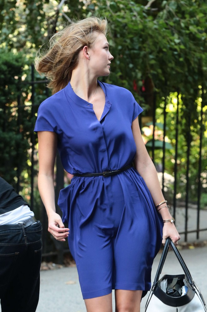 Karlie Kloss in Blue Dress out in NYC