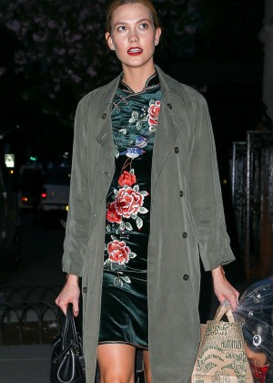 Karlie Kloss in Floral Dress out in NY