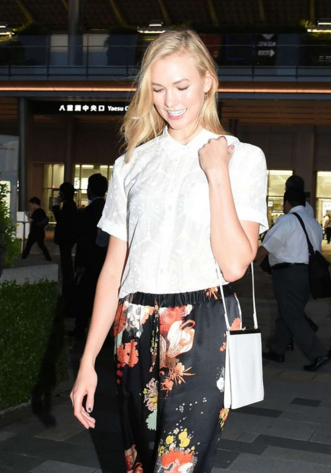Karlie Kloss in Floral Pants Out in Tokyo