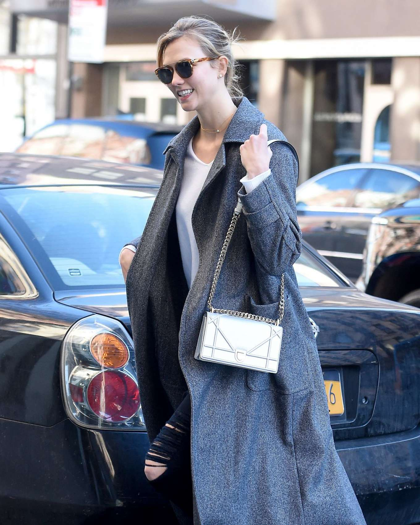 Karlie Kloss 2017 : Karlie Kloss in Grey Long Coat -03