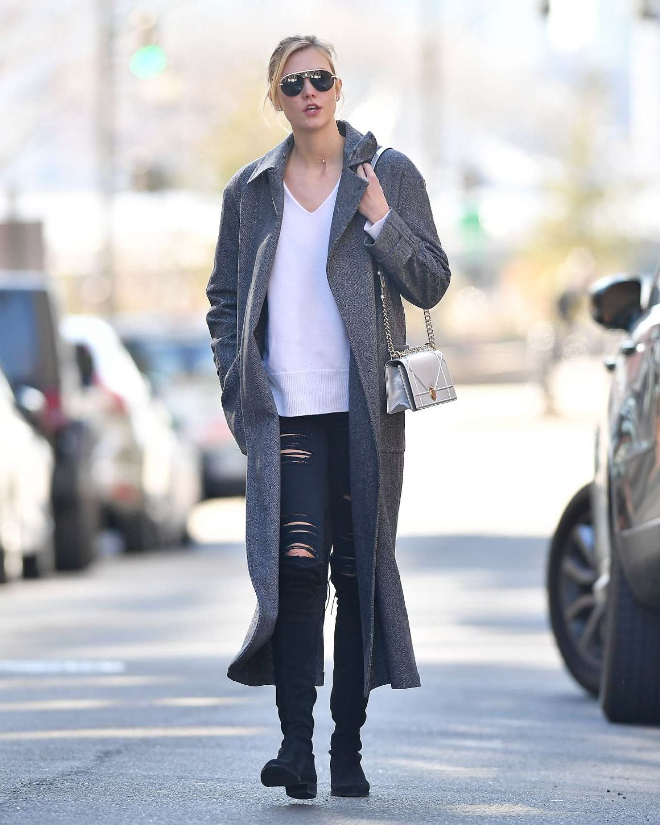 Karlie Kloss in Grey Long Coat Out in New York