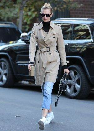 Karlie Kloss in Jeans and Coat Out in New York City