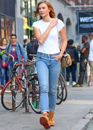 Karlie Kloss in jeans and tan hiking boots out in NY