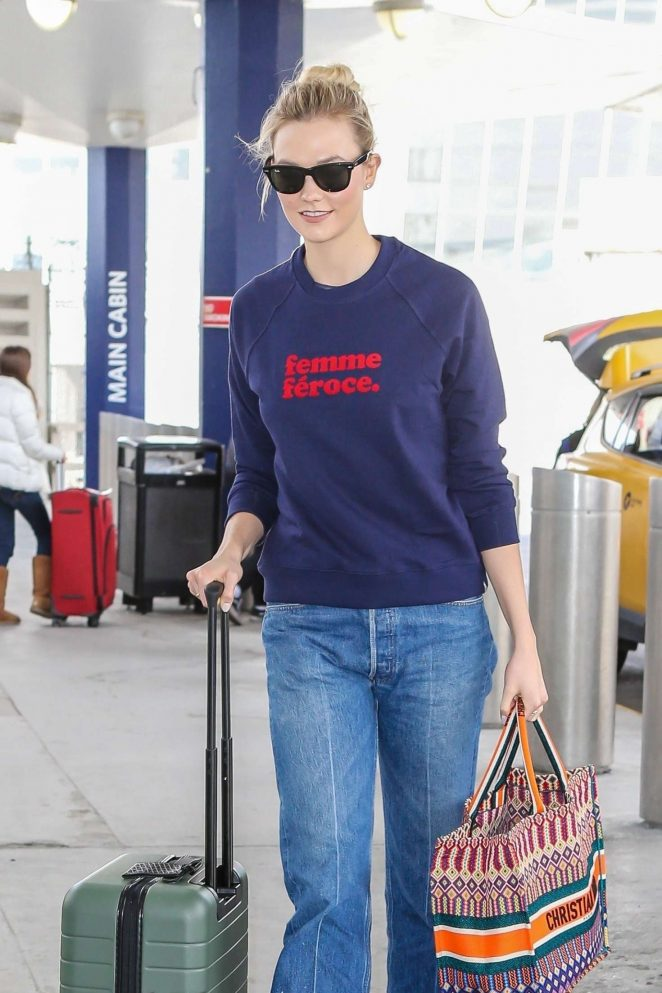 Karlie Kloss in Jeans - Arrives at JFK airport in NYC