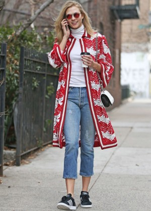 Karlie Kloss in jeans out in NYC