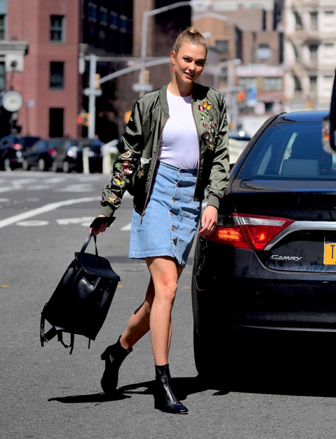 Karlie Kloss in Jeans Skirt out in Soho