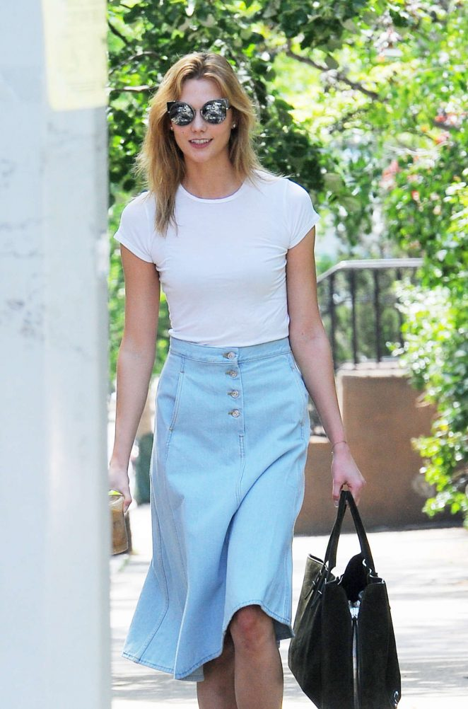 Karlie Kloss in Jeans Skirt out in West Village