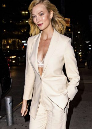 Karlie Kloss in Khaki Suits - Out in NYC