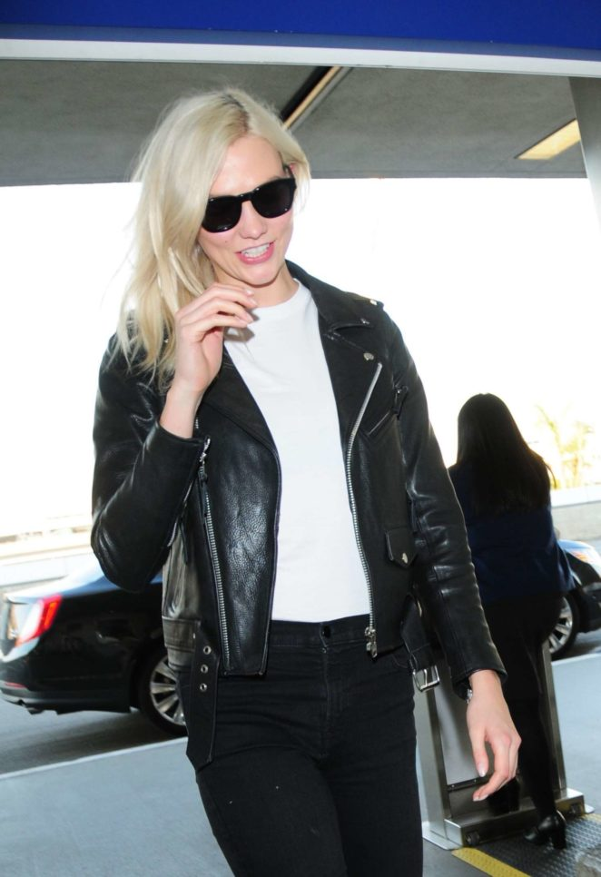 Karlie Kloss in Leather Jacket at LAX Airport in LA