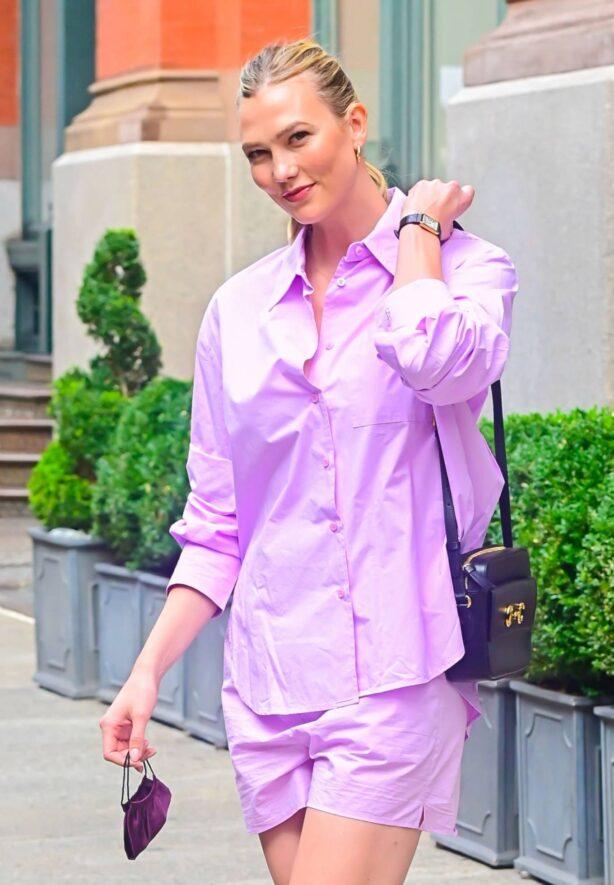 Karlie Kloss - In lilac seen walking in SoHo in New York City
