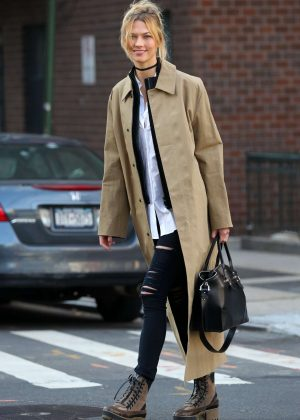 Karlie Kloss in Long Coat and Jeans out in New York