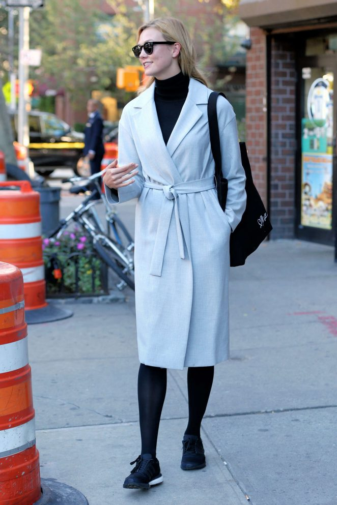 Karlie Kloss in Long Coat out in New York City