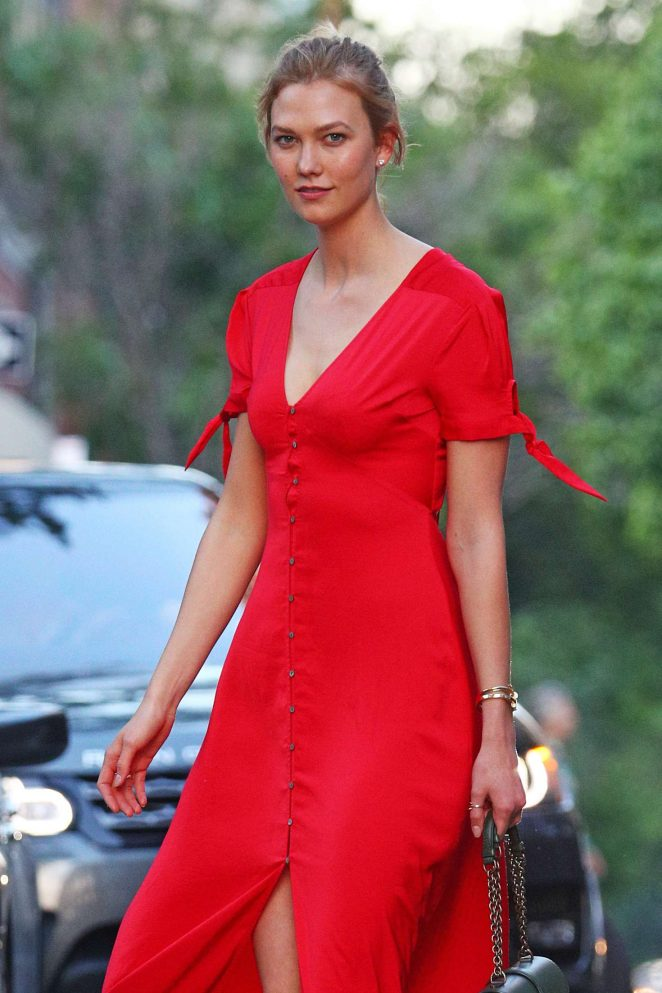 Karlie Kloss in Long Red Dress out in New York City