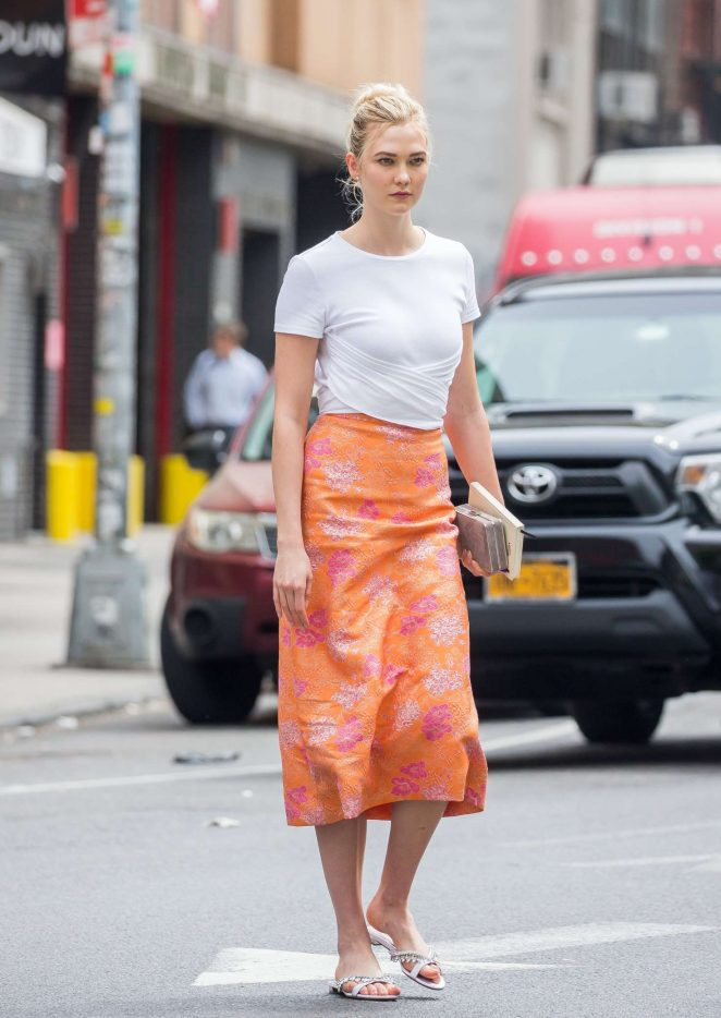 Karlie Kloss in Peach Skirt out in Soho