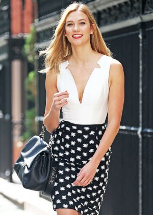 Karlie Kloss in Polka dot pencil skirt in NYC