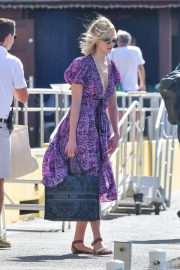 Karlie Kloss in Purple Dress with husband Joshua Kushner - Arriving in St Barts
