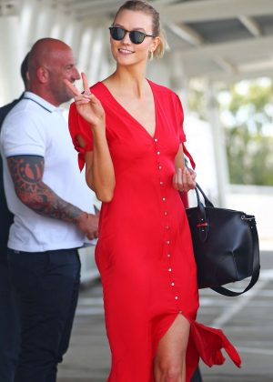 Karlie Kloss in Red at International airport in Sydney