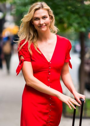 Karlie Kloss in Red Dress - Out and about in New York City