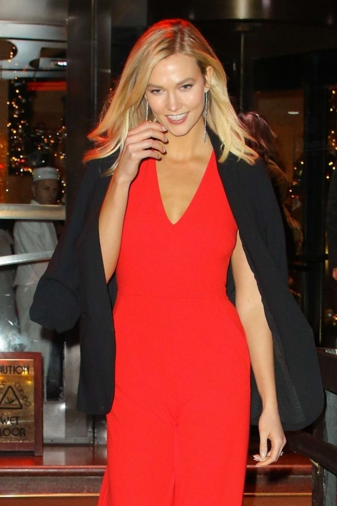 Karlie Kloss in Red Jumpsuit - Out in New York