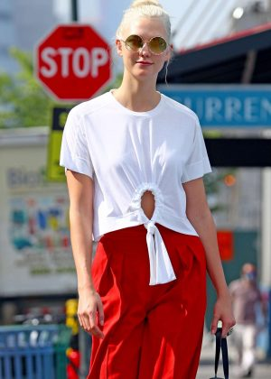 Karlie Kloss in Red Pants Out in New York