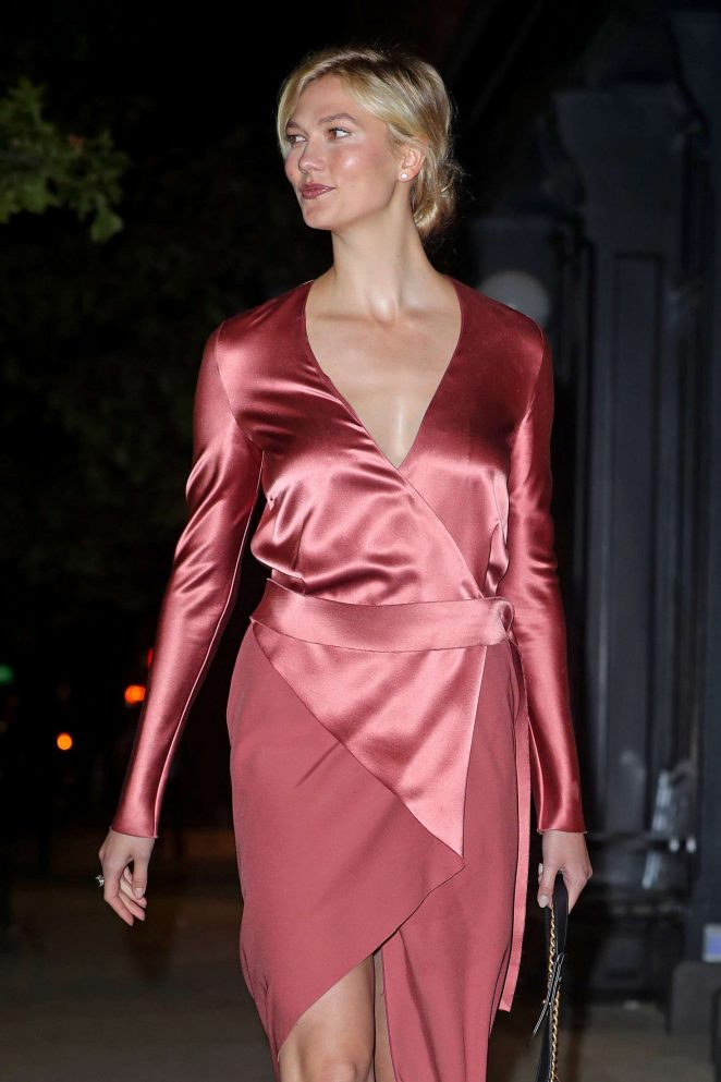 Karlie Kloss in Satin Dress - Out in NYC