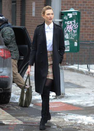 Karlie Kloss in Short Skirt out in New York City