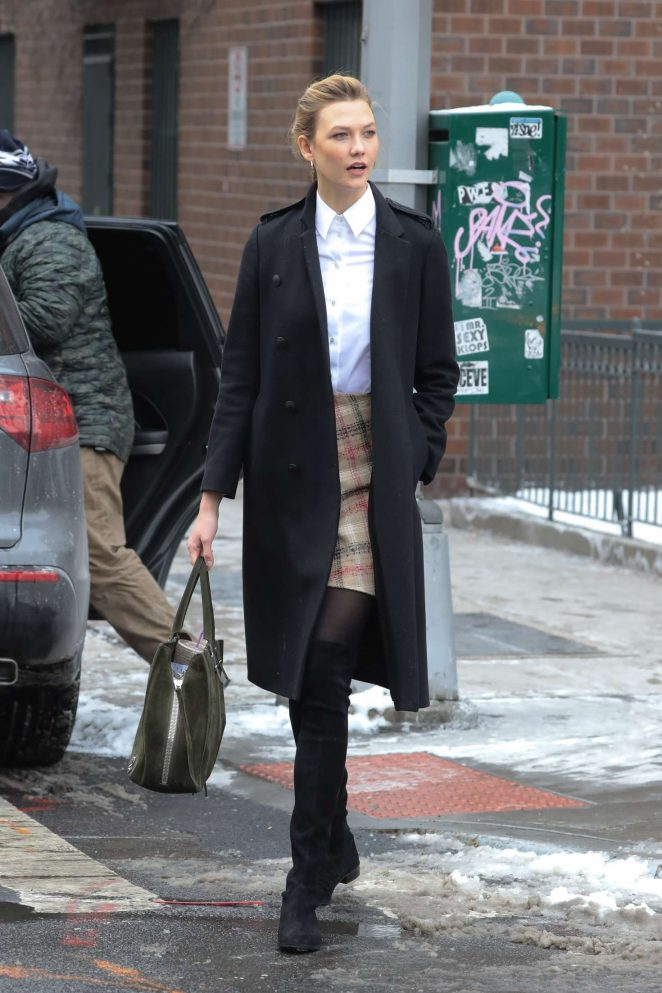 Karlie Kloss in Short Skirt out in New York City