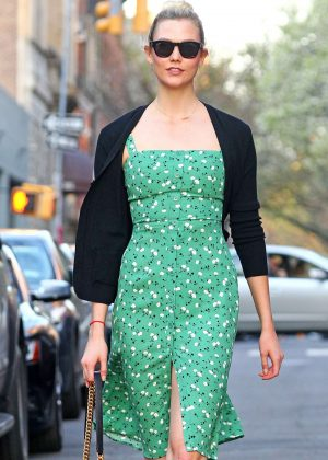 Karlie Kloss in Strapless Floral Dress out in NYC