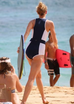 Karlie Kloss in Swimsuit on the beach in Hawaii