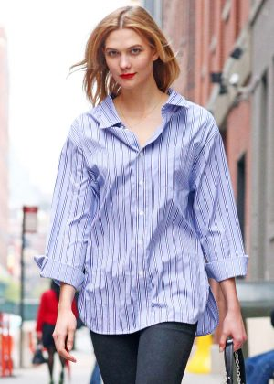 Karlie Kloss in tight jeans out in NYC