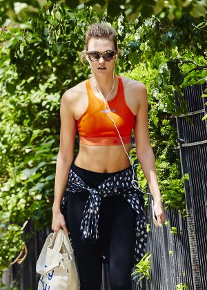 Karlie Kloss in Tights and Sports Bra Out in New York City