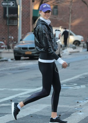 Karlie Kloss in Tights out in New York