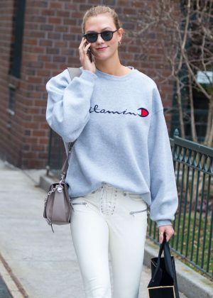 Karlie Kloss in White Pants Out in New York City