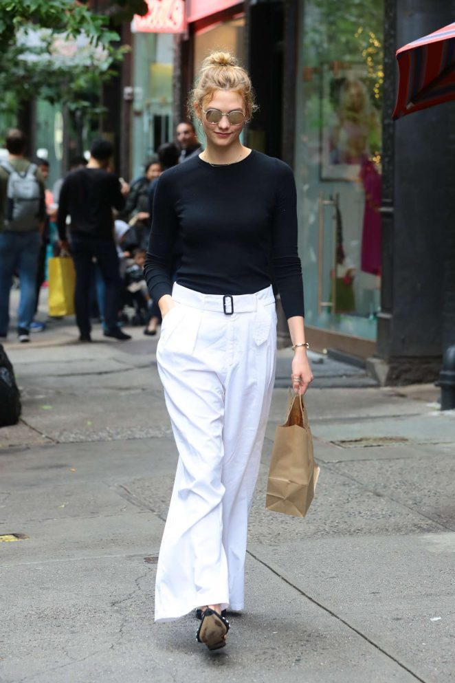 Karlie Kloss in White Pants out in New York