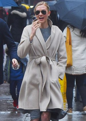 Karlie Kloss on the rain out in New York City